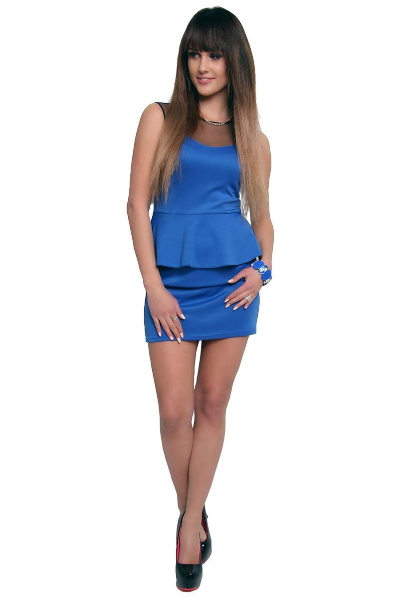 d89a485cd0 Sukienka baskinka z tiulem CM108 niebieska  Modne sukienki wizytowe w  sklepie online CosmosModa