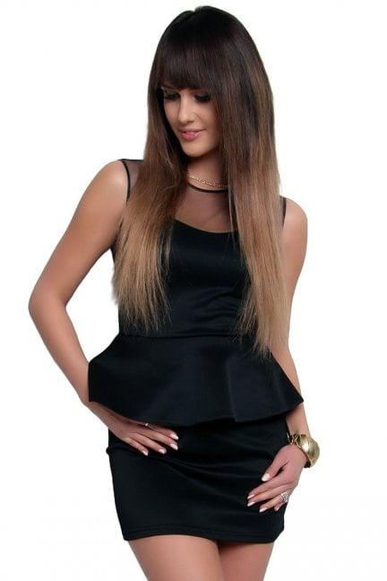 Sukienka baskinka z tiulem CM108 czarna
