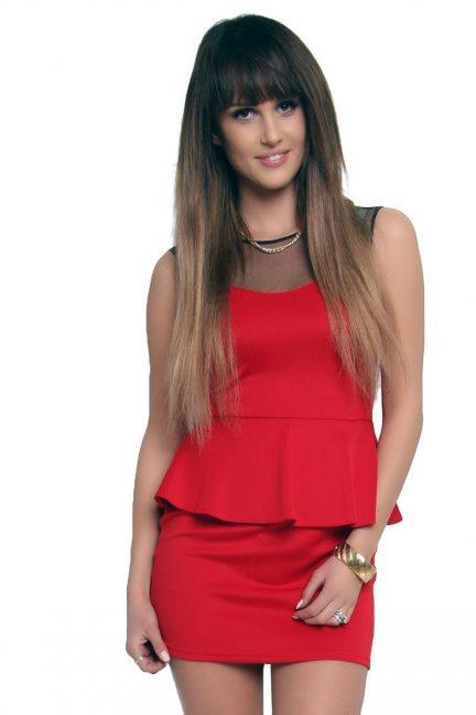 Sukienka baskinka z tiulem CM108 czerwona