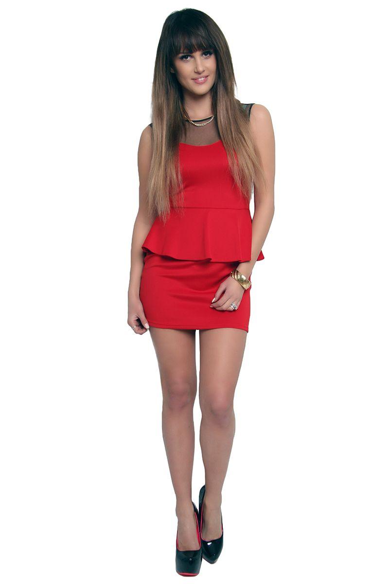 e70ace84a8 Sukienka baskinka z tiulem CM108 czerwona  Modne sukienki wizytowe w  sklepie online CosmosModa