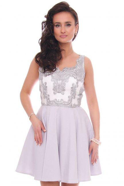 Sukienka rozkloszowana z gipiurą szara