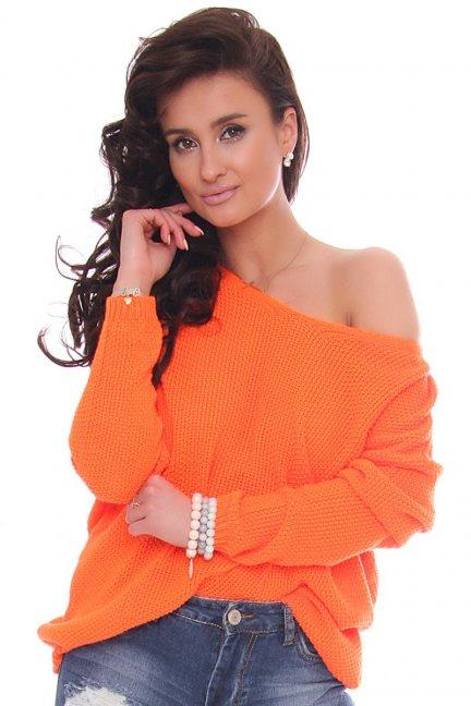 Sweter modny oversize pomarańczowy