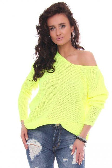 Sweter modny oversize neonowy żółty