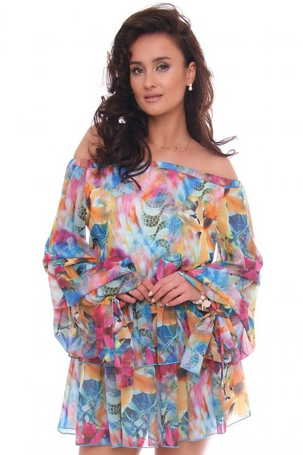 Sukienka mini kolorowa hiszpanka w kwiaty