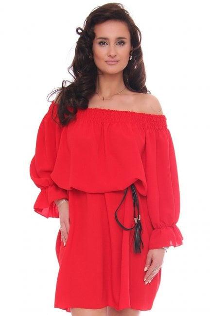 Sukienka wizytowa mini z paskiem czerwona