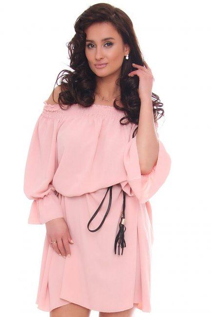 Sukienka wizytowa mini z paskiem różowa