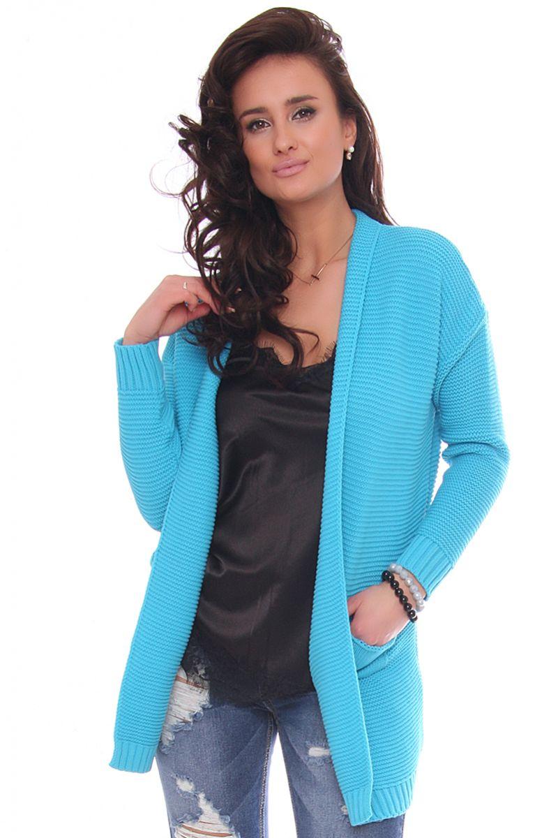 cbc0b5d5ceb0f Narzutka damska sweter z kieszeniami modne swetry damskie CosmosModa