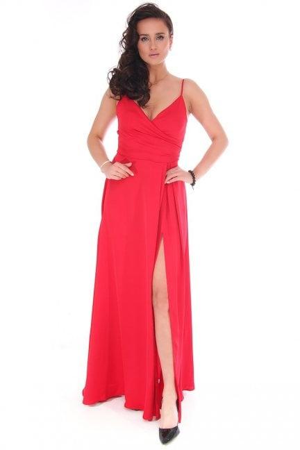 Sukienka damska maxi z dekoltem czerwona