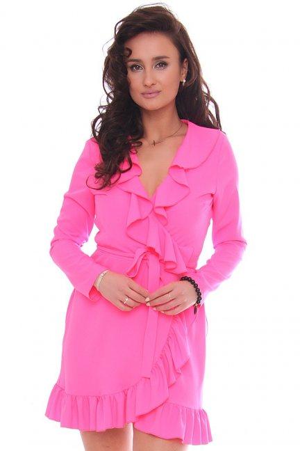 Sukienka wizytowa mini z falbankami różowa