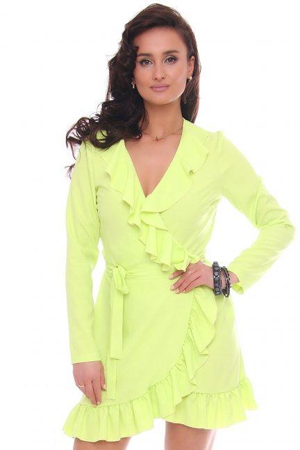 Sukienka wizytowa mini z falbankami limonka