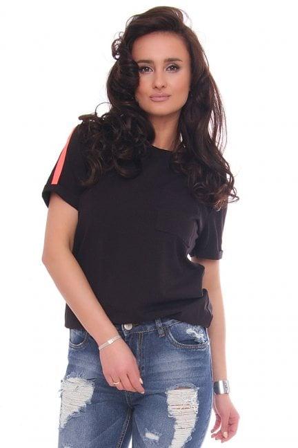 Bluzka damska z kolorowym paskiem czarna