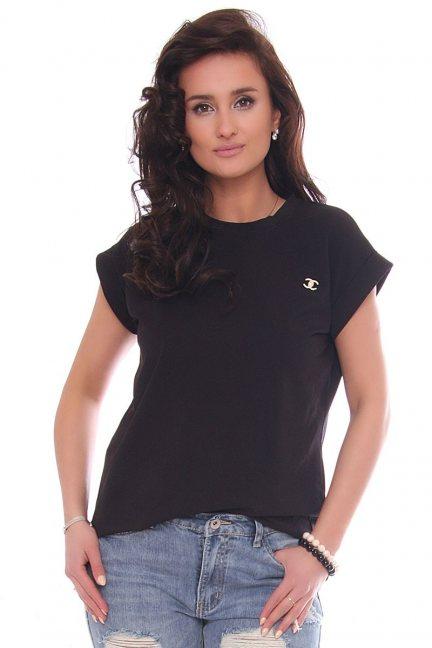 Bluzka dopasowana damska z ozdobą czarna