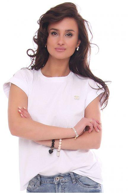 Bluzka dopasowana damska z ozdobą biała