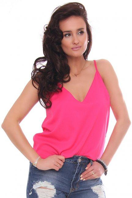 Bluzka letnia top na ramiączka różowa