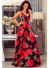 Sukienka rozkloszowana maxi w kwiaty czarna