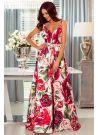 Sukienka rozkloszowana maxi w kwiaty róż