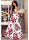 Sukienka rozkloszowana maxi w kwiaty biała