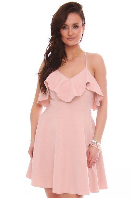 Sukienka rozkloszowana z falbanką pudrowy róż