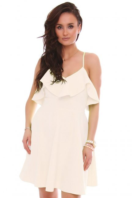 Sukienka rozkloszowana z falbanką ecru