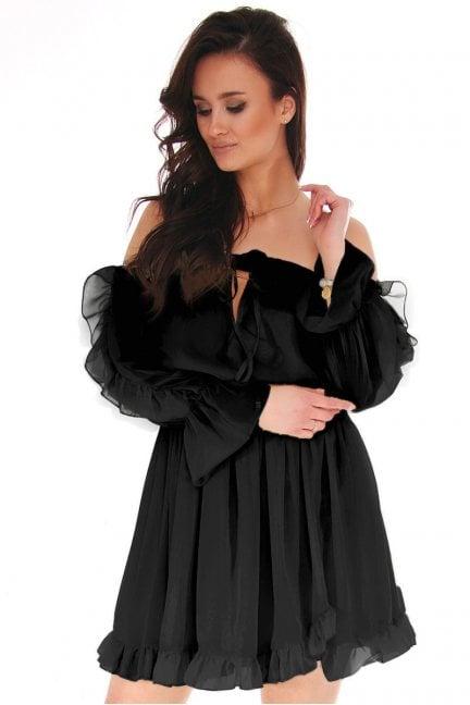 Sukienka hiszpanka mini z falbankami czarna