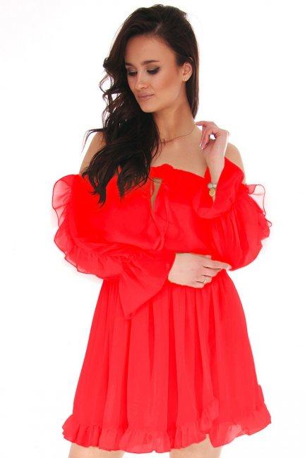 Sukienka hiszpanka mini z falbankami czerwona