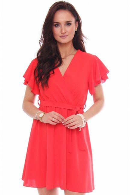 Sukienka mini z dekoltem falbanki czerwona