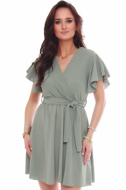 Sukienka rozkloszowana mini khaki