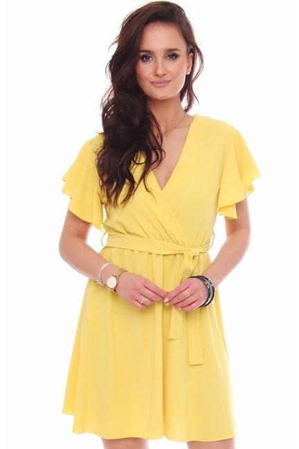 Sukienka mini z dekoltem falbanki żółta