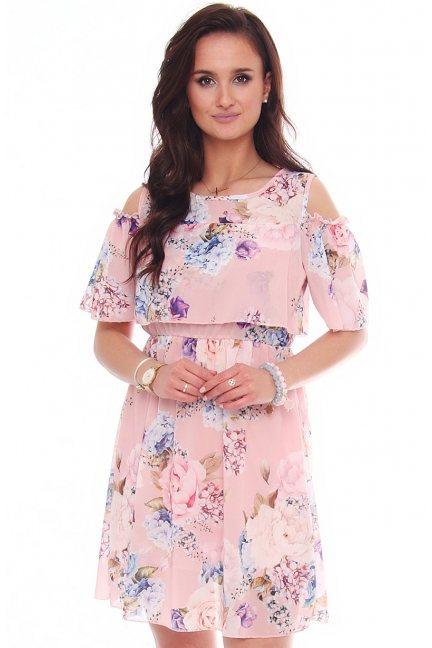 Sukienka kwiecista odkryte ramiona różowa