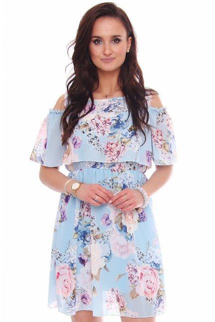 Sukienka kwiecista odkryte ramiona niebieska