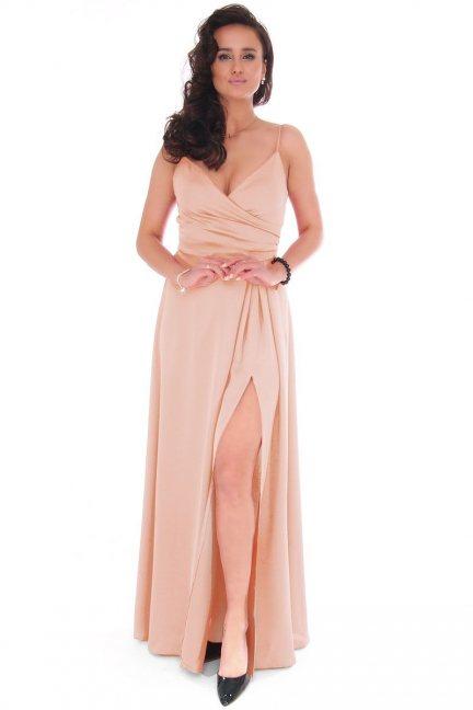 Sukienka damska maxi z dekoltem beżowa