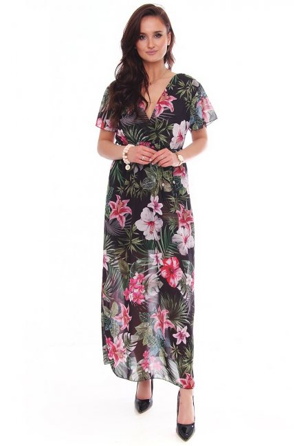 Sukienka maxi z dekoltem w kwiaty czarna