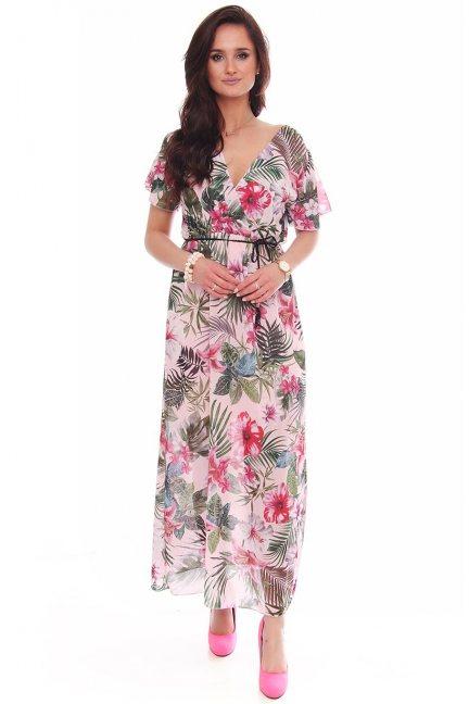 Sukienka maxi z dekoltem w kwiaty różowa