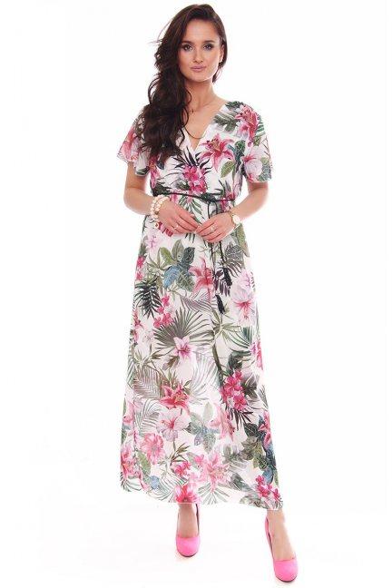Sukienka maxi z dekoltem w kwiaty biała