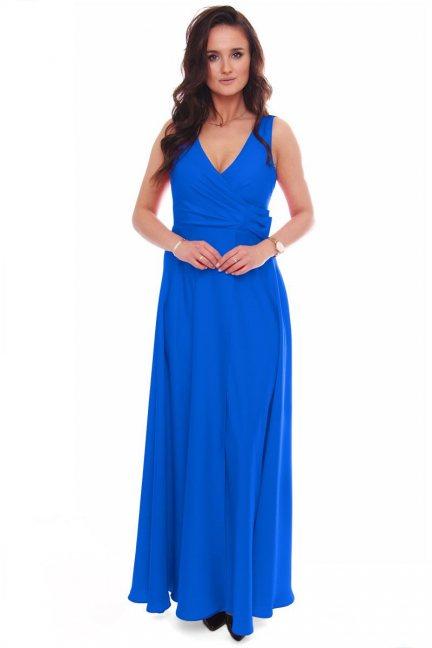 Sukienka wizytowa maxi z kokardą chabrowa