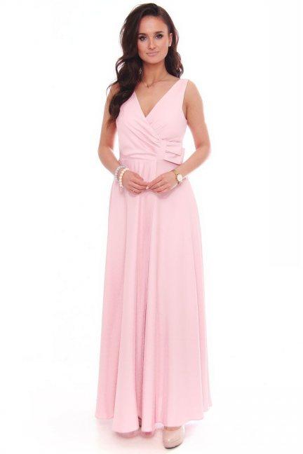 Sukienka wizytowa maxi z kokardą pudrowy róż