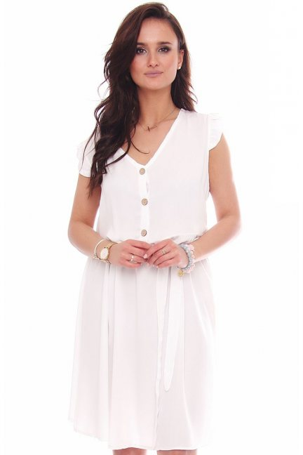 Sukienka modna przed kolano biała