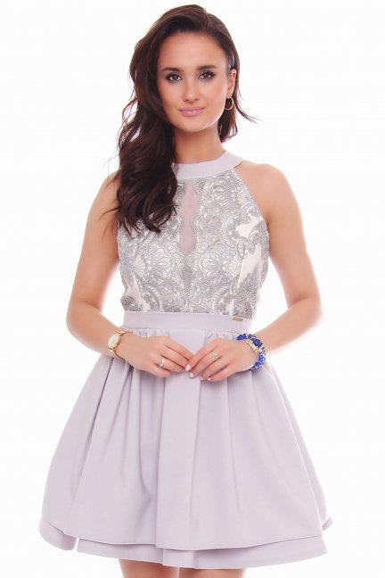 Sukienka elegancka z koronką szara