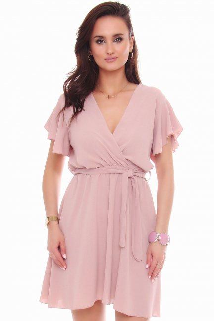 Sukienka rozkloszowana mini różowa
