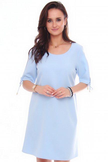 Sukienka mini trapezowa CMK521 błękitna