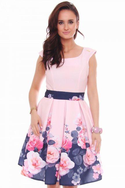 Sukienka klosz w róże CMK597 różowa