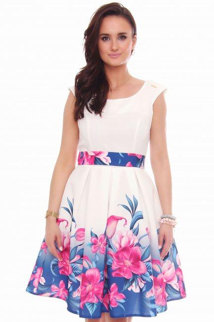 Sukienka klosz w kwiaty CMK597 biała