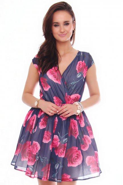 Sukienka rozkloszowana w kwiaty granatowa