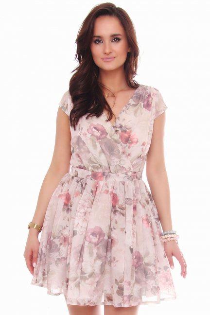 Sukienka rozkloszowana w kwiaty beżowa