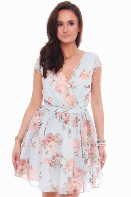 Sukienka rozkloszowana w kwiaty błękitna