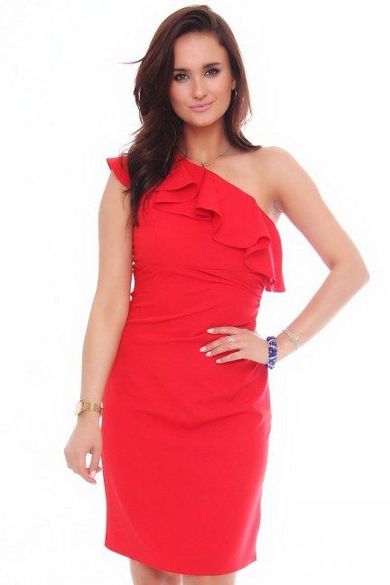 Sukienka ołówkowa z falbanką czerwona