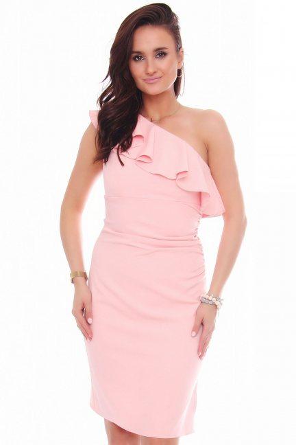 Sukienka ołówkowa z falbanką różowa