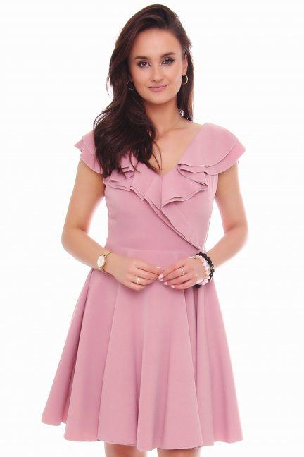 Sukienka koktajlowa mini z falbanką różowa