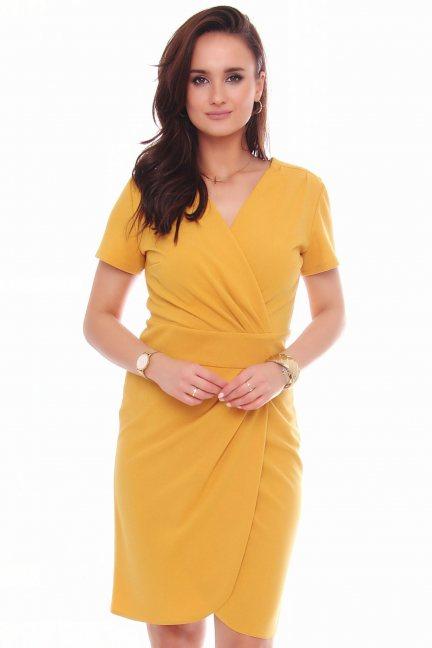 Sukienka modna krótki rękaw musztarda