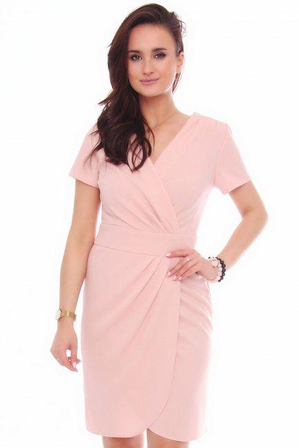 Sukienka modna krótki rękaw różowa